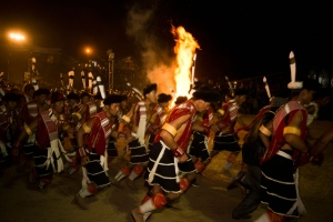Naga tribal people in traditional outfit celebrating the annual Hornbill Festival at Kisama, Kohima, Nagaland, India