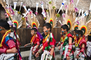 Naga tribal children in traditional outfit during the annual Hornbill Festival at Kisama, Kohima, Nagaland, India