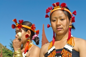 Women of the Samdom tribe with traditional headdress at the annual Hornbill Festival, Kohima, Nagaland, India, Asia