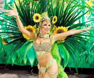 Reveller from Vila Isabel samba school participates in annual Carnival parade in Rio de Janeiro's Sambadrome