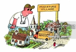 Miniature removal van in miniature village