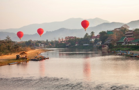 Hot Air Balloons Sunrise Laos