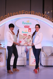 Actors and celebrity mommies Mandira Bedi and Tara Sharma at the exclusive preview for Pampers Premium Care Pants- Softest for baby skin