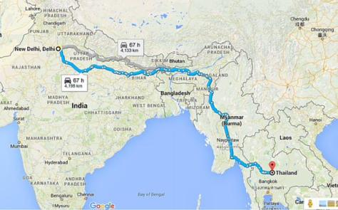 The route map from New Delhi to Thailand.