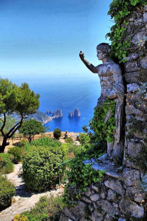 Beautiful statue in the Isle of Capri, Italy