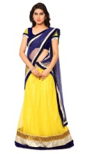 yellow-blue-lehenga-saree-from-triveni-sarees